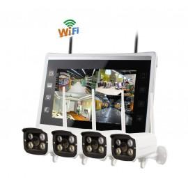 Kit de vidéosurveillance 4 caméras avec moniteur de visualisation WiFi