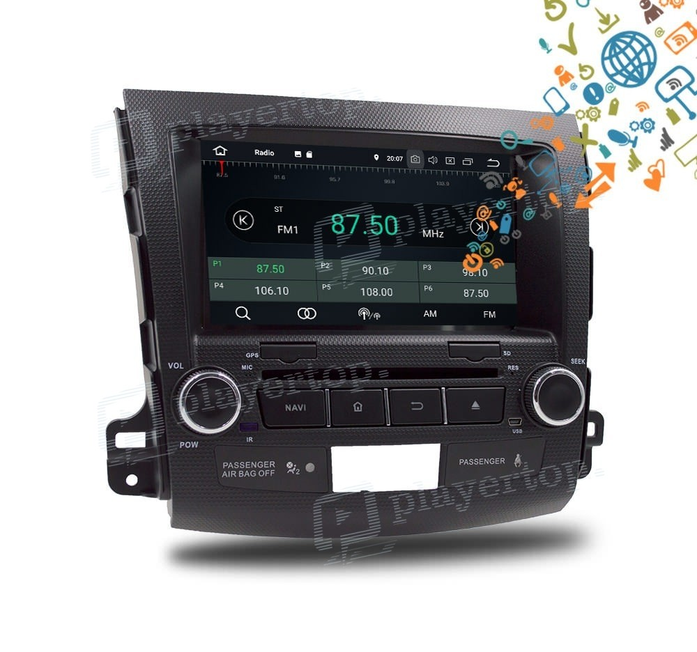 autoradio gps android 8 0 mitsubishi outlander 2006 2012. Black Bedroom Furniture Sets. Home Design Ideas