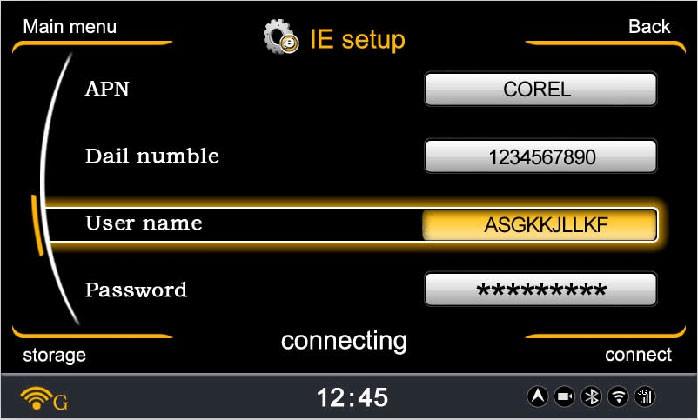 Interface de la fonction 3G sur autoradio