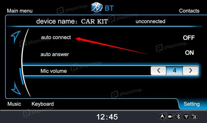 Auto connexion du bluetooth