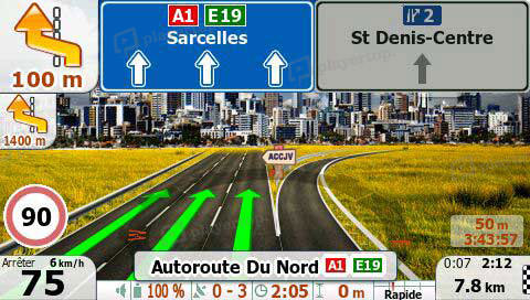 photo interface autoradio cartographie Europe en 3D